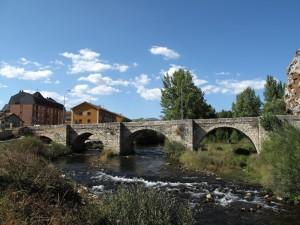 Scenic bridge crosses a babbling river
