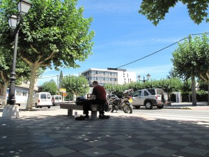Biker resting under a tree on a bench and updating journal