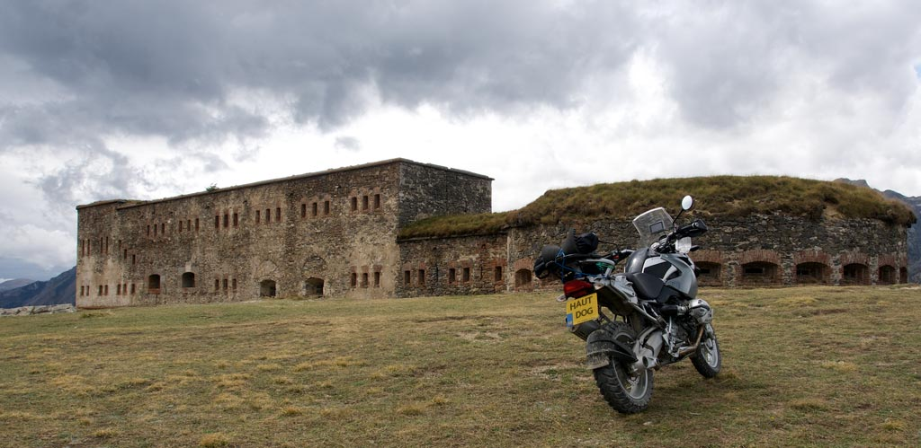 Bike in front of Fort Central amid gathering storm clouds