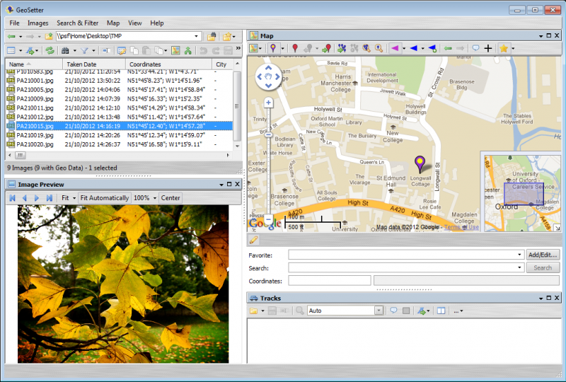 Geosetter screen shot