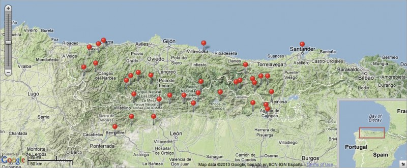 A google map of northern Spain, showing red pins for places visited