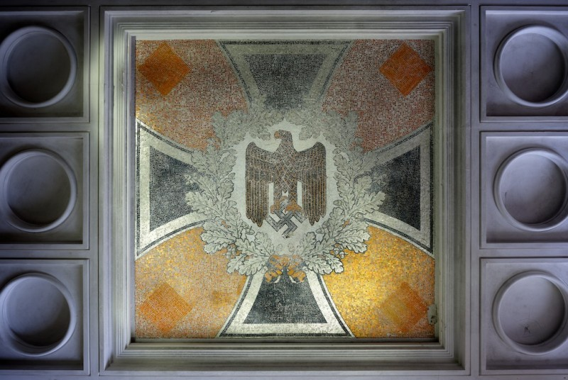Detail view of ceiling mosaic showing swastika and reichsadler