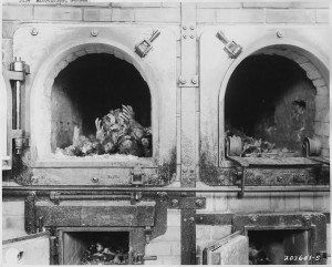 Black and white photo showing two crematorium ovens with doors open, remains of human ribcage visible in one