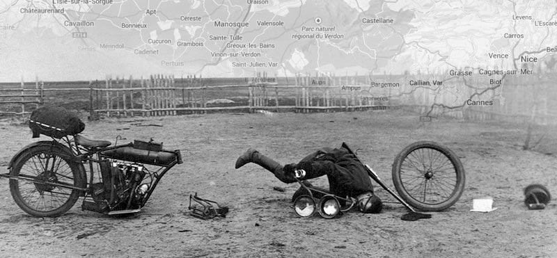 Black and white photo showing a pioneer of slapstick motorcycle touring