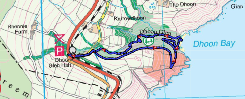 Section of the Isle of Man Recreational Map showing Dhoon Bay and Glen.