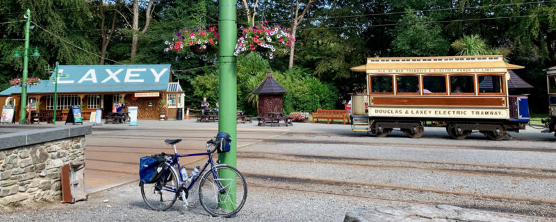 Ridgeback Panorama touring bike parked next to Manx Electric Railway at Laxey