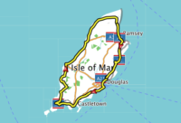 Map of Isle of Man showing an outline of the ride taken