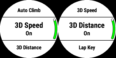 Two screen-grabs from Garmin's Fenix 5 fitness tracker showing 3D Speed and Distance control toggles