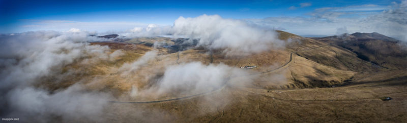 Aerial photo showing clouds over Snaefell, Isle of Man