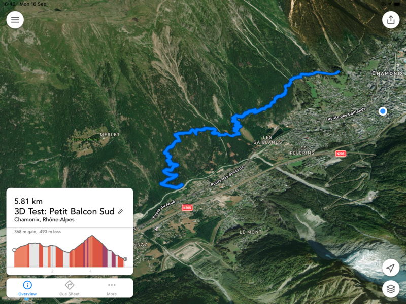 Screen-grab showing wiggly hillside track above Chamonix town
