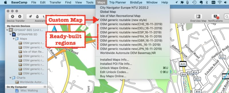Basecamp screen-grab showing the naming differences between  ready-built and custom maps