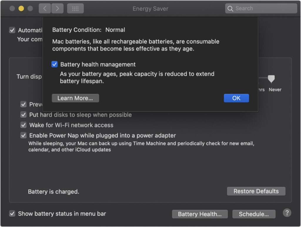 Screen-grab of a macOS feature designed to extend the life of a laptop battery.